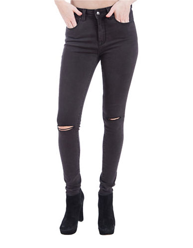 Lola Jeans Alexa Distressed Knee Skinny Jeans-HEATHER BLACK-33