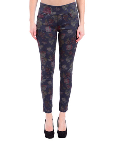 Lola Jeans Flora-Print Mid-Rise Ankle Jeans-BLUE ROSE-31