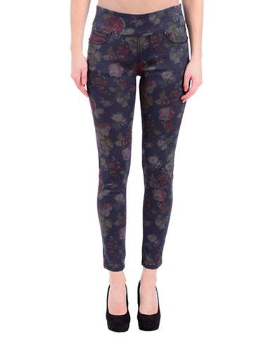 Lola Jeans Flora-Print Mid-Rise Ankle Jeans-BLUE ROSE-28