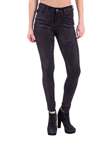 Lola Jeans Isabel Vegan Suede Leggings-SUEDE BLACK-28
