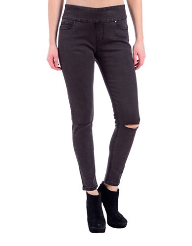 Lola Jeans Slim-Fit Distressed Ankle Jeans-HEATHER BLACK-32