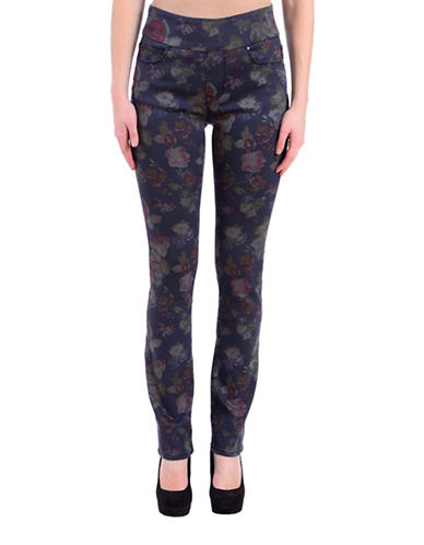 Lola Jeans Floral Print High-Rise Straight Jeans-BLUE ROSE-26