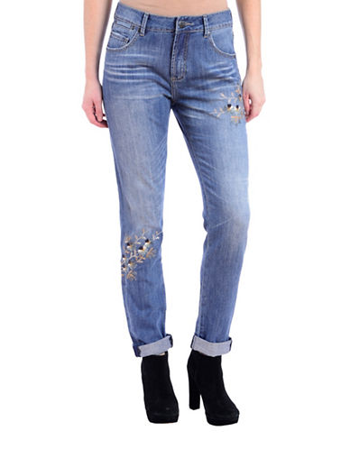 Lola Jeans Embroidered High-Rise Girlfriend Jeans-LIGHT INDIGO-29