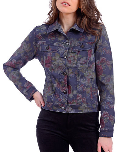 Lola Jeans Floral Cropped Jacket-BLUE ROSE-Small