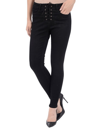 Lola Jeans Dahlia High Rise Lace-up Jeans-BLACK-0