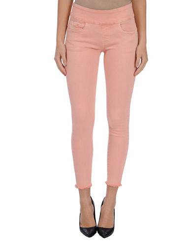 Lola Jeans Julia Mid-Rise Pull-On Frayed Ankle Jeans-PEACH-38