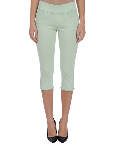Lola Jeans Michelle Mid-Rise Pull-On Frayed Capri Pants-MISTY JADE-36