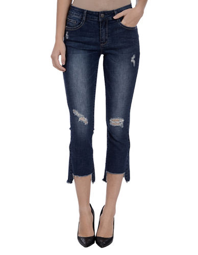 Lola Jeans Mid-Rise Flared Cropped Jeans-ANTIQUE BLUE-40