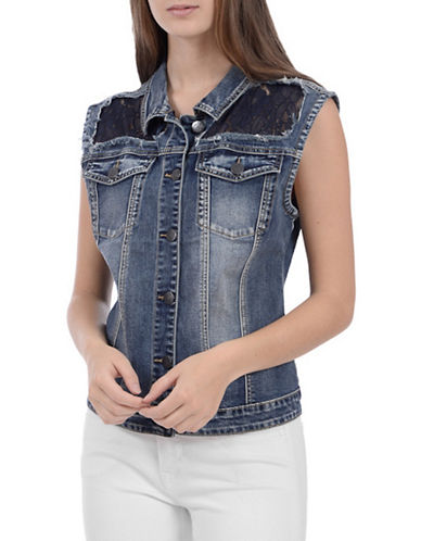 Lola Jeans Rosemary Denim Vest-LACE BLUE-Small