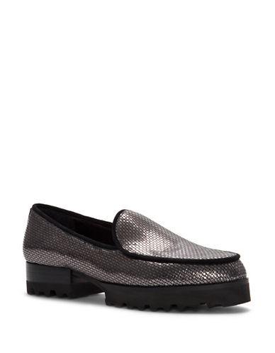 Donald J. Pliner Elen Stacked Heel Leather Loafers-CARBON GREY-9.5