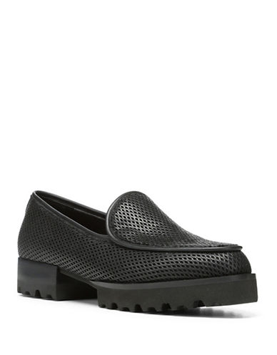 Donald J. Pliner Round Toe Leather Loafers-BLACK-7