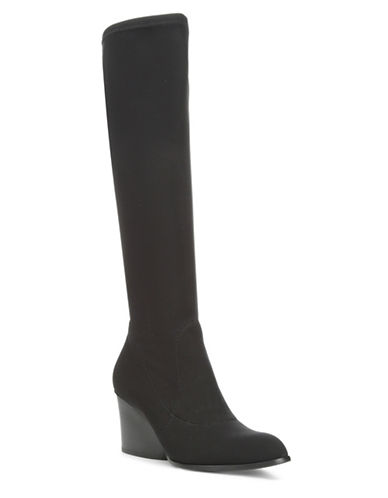Donald J. Pliner Patsy Stretch Leather Knee-High Boots-BLACK-7.5