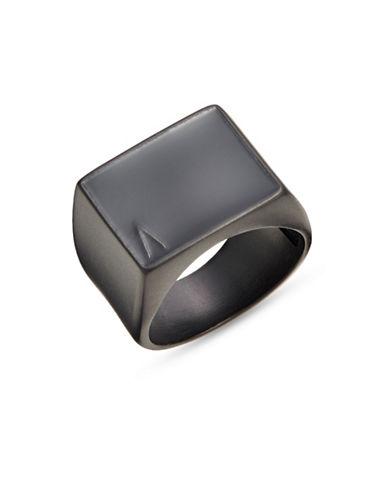 Atelic Black Rectangle Fill Ring-BLACK-7