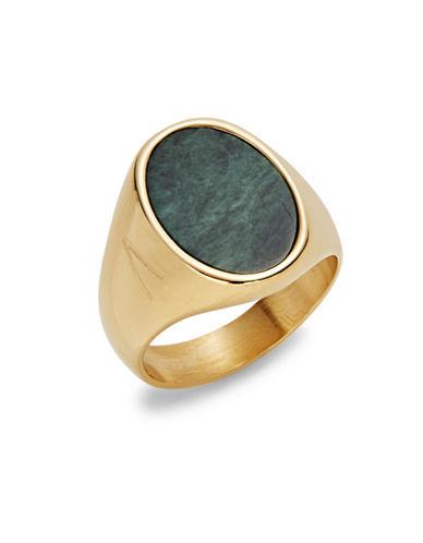 Atelic Oval Stone Goldtone Ring-GREEN-11