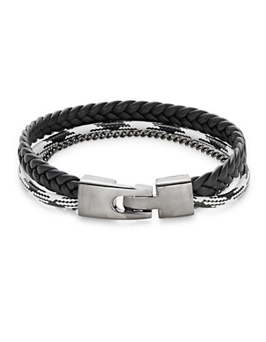 Atelic Leather and Rope Mixed Braid Bracelet-BLACK-One Size