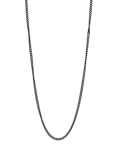 Atelic Gunmetal-Tone Flat A Chain Necklace-BLACK-One Size