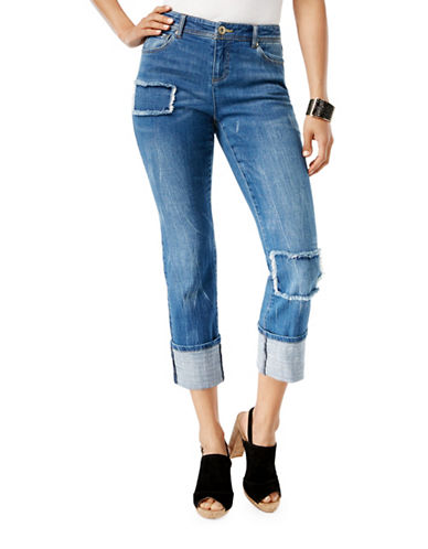 I.N.C International Concepts Patchwork Mid-Rise Boyfriend Jeans-BLUE-14