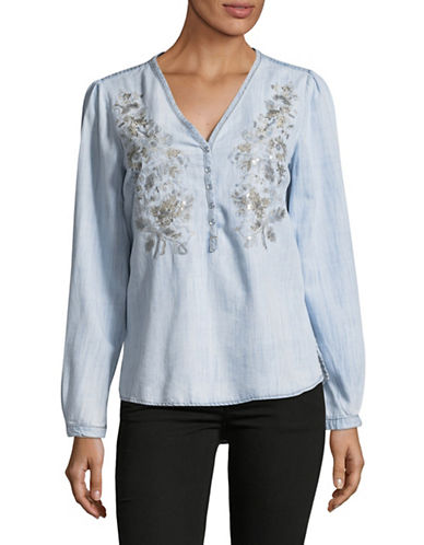 I.N.C International Concepts Embroidered Blouse-BLUE-Small