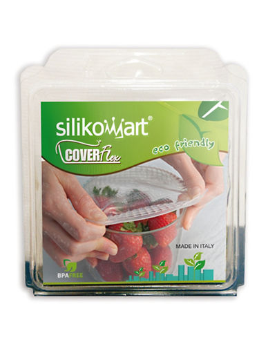 Silikomart Four-Piece Round Stretchable Coverflex Food Covers-CLEAR-One Size