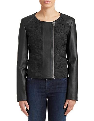 Armani Jeans Floral Jacquard Moto Jacket-BLACK-10