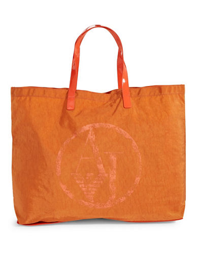 Armani Jeans Foldable Nylon Tote Bag-ORANGE-One Size