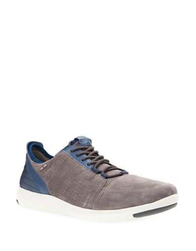 Geox Xunday 2Fit Perforated Suede Sneakers-GREY-EU 42/US 9