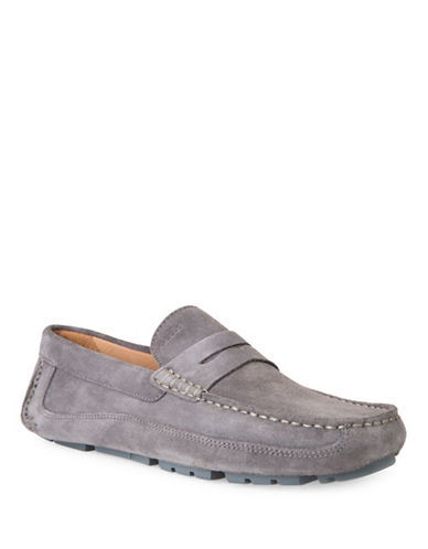 Geox U Melbourne A Leather Slip-On Shoes-GREY-EU 42/US 9