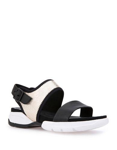 Geox Sfinge Leather Sandals-BLACK/LIGHT GOLD-EUR 40/US 10