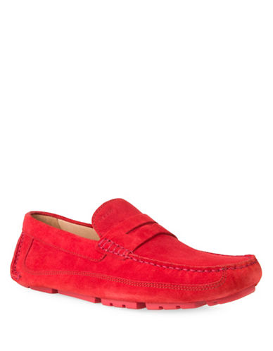 Geox U Melbourne A Leather Slip-On Shoes-RED-EU 45/US 12