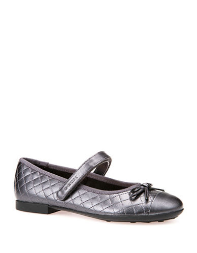 Geox Respira Leather Ballet Flats-GREY-11