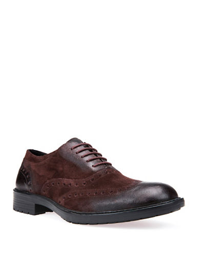 Geox Kapisian Respira Brogue Leather Oxfords-RED-EU 40/US 7
