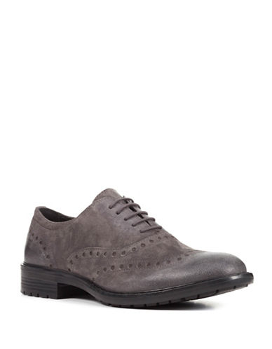 Geox Kapisian Respira Brogue Leather Oxfords-GREY-EU 41/US 8