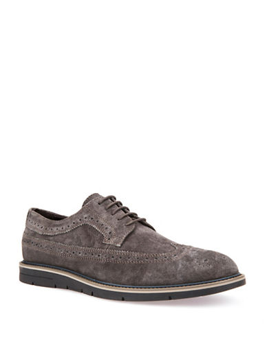 Geox Mens U Uvet A Suede Wingtip Derby Shoes-GREY-EU 40/US 7
