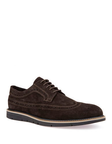 Geox Mens U Uvet A Suede Wingtip Derby Shoes-BROWN-EU 44/US 11