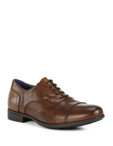 Geox Mens U Besmington B Leather Oxford Shoes-COGNAC-9.5