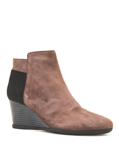 Geox Inspiration Wedge Suede Booties-CHESTNUT-EUR 36/US 6