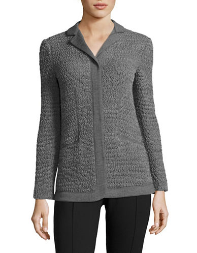 Armani Collezioni Textured Knit-Border Jacket-GREY-EUR 40/US 4