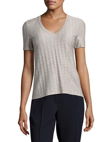 Armani Collezioni Jacquard V-Neck T-Shirt-GREY/WHITE-EUR 48/US 12