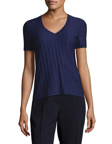 Armani Collezioni Jacquard V-Neck T-Shirt-BLUE-EUR 38/US 2