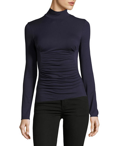 Armani Collezioni Ruched Mock Neck Top-MARINE BLUE-EUR 42/US 6