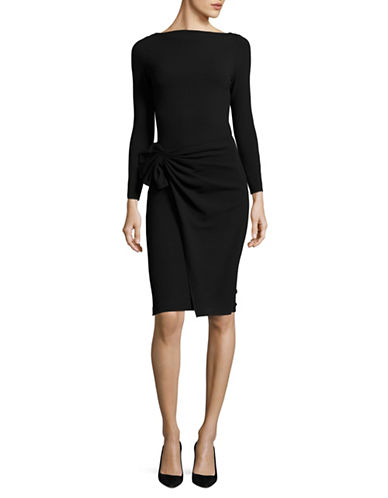 Armani Collezioni Pleated-Waist Sheath Dress-BLACK-EUR 50/US 14