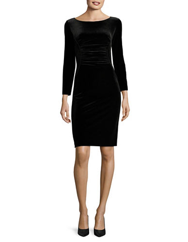 Armani Collezioni Long Sleeve Gathered Velvet Dress-BLACK-EUR 42/US 6