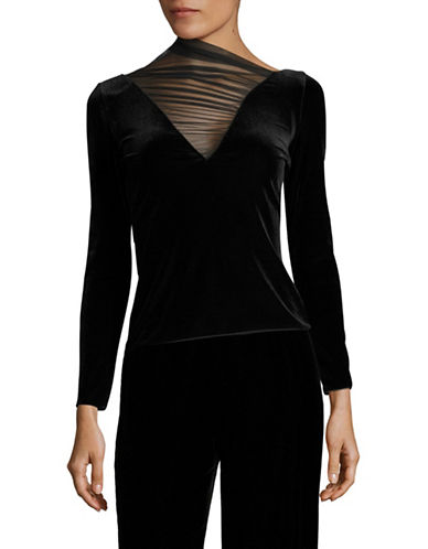 Armani Collezioni Long Sleeve Velvet Illusion V Top-BLACK-EUR 42/US 6