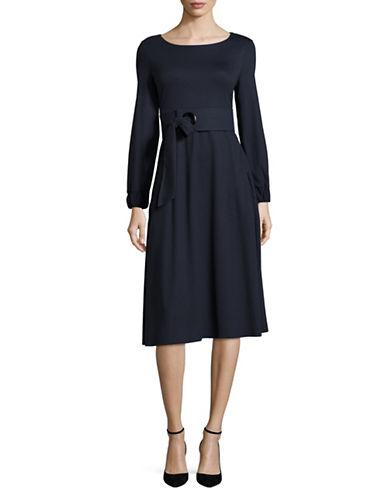 Armani Collezioni Belted Ponte-Knit A-Line Dress-NAVY-EUR 44/US 8