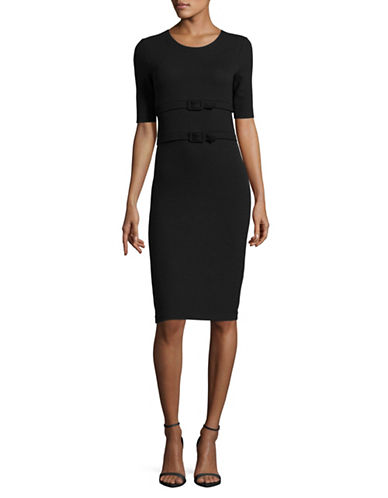 Armani Collezioni Short Sleeve Double-Belt Dress-BLACK-EUR 40/US 4