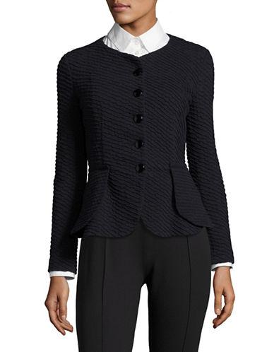 Armani Collezioni Jersey Jacquard Jacket-DARK BLUE-EUR 40/US 4