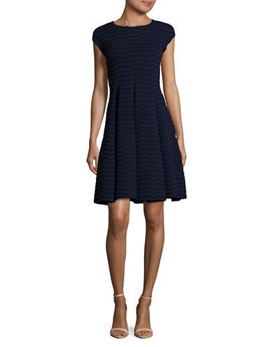Armani Collezioni Wave Cap Sleeve Fit-and-Flare Dress-BLUE-EUR 42/US 6