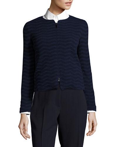 Armani Collezioni Wave Zip-Front Blazer-BLUE-EUR 40/US 4