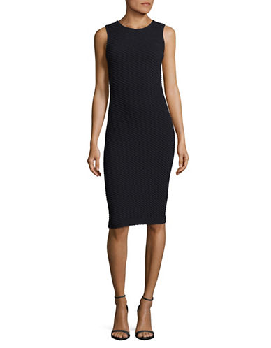 Armani Collezioni Jersey Jacquard Sheath Dress-DARK BLUE-13X72 INCHES