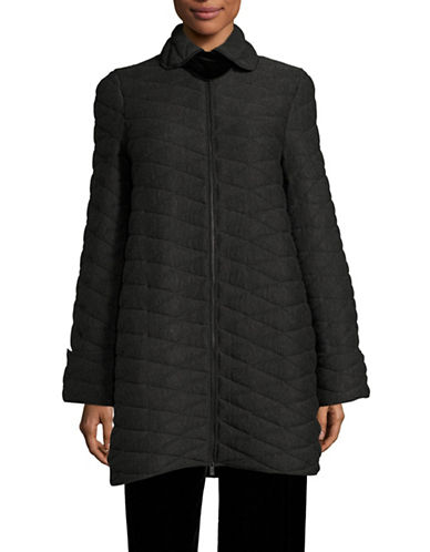 Armani Collezioni Quilted Coat with Chenille Collar Tab-DARK GREY-EUR 50/US 14